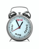 2014 year on alarm clock. 3D image stock illustration