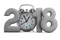 2018 year and alarm clock on white background. Isolated 3D Stock Photos