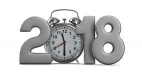 2018 year and alarm clock on white background. Isolated 3D render stock footage