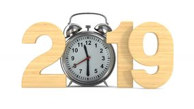 2019 year and alarm clock on white background. Isolated 3D render stock video