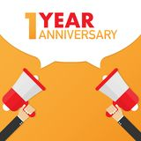 1 year anniversary - advertising sign with megaphone. Vector illustration. 1 year anniversary - advertising sign with megaphone. Vector stock illustration royalty free illustration