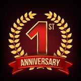 1 Year Anniversary Banner Vector. One, First Celebration. Shining Gold Sign. Number One. Laurel Wreath. Red Ribbon. For. One Year Anniversary Vector. One, First royalty free illustration