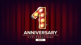 1 Year Anniversary Banner Vector. One, First Celebration. Shining Light Sign Number. For Business Cards, Postcards. Flyers, Gift Cards Design. Red Background Stock Images