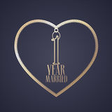 1 year anniversary of being married vector icon, logo Royalty Free Stock Photo