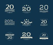 20 - year anniversary celebrating logotype. 20th anniversary logo set. Vector illustration royalty free illustration