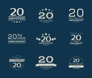 20 - year anniversary celebrating logotype. 20th anniversary logo set. Vector illustration Royalty Free Stock Photos