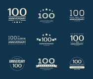 100 - year anniversary celebrating logotype. 100th anniversary logo set. Vector illustration stock illustration