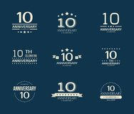 10 - year anniversary celebrating logotype. 10th anniversary logo set. Vector illustration Stock Photos