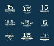15 - year anniversary celebrating logotype. 15th anniversary logo set. Vector illustration stock illustration