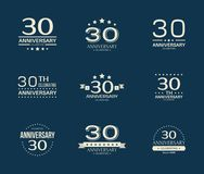 30 - year anniversary celebrating logotype. 30th anniversary logo set. Vector illustration Stock Images