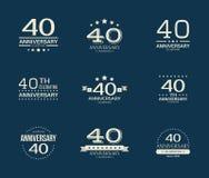 40 - year anniversary celebrating logotype. 40th anniversary logo set. Vector illustration stock illustration