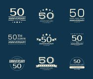 50 - year anniversary celebrating logotype. 50th anniversary logo set. Vector illustration Stock Photos