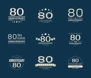 80 - year anniversary celebrating logotype. 80th anniversary logo set. Vector illustration stock illustration
