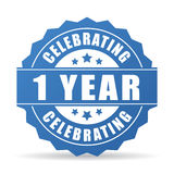 1 year anniversary celebrating vector icon. Isolated on white background Stock Images