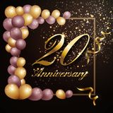 20 year anniversary celebration background banner design with luxury decoration. Vector illustration royalty free illustration