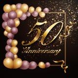 50 year anniversary celebration background banner design with luxury decoration. Vector illustration vector illustration
