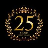 25 year anniversary celebration card. Black background vector illustration