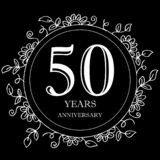 50 year anniversary celebration card. Black background royalty free illustration