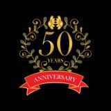 50 year anniversary celebration card. Black background vector illustration