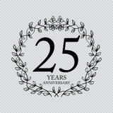 25 year anniversary celebration card. Transparent background royalty free illustration