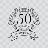 50 year anniversary celebration card. Transparent background vector illustration