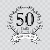 50 year anniversary celebration card. Transparent background stock illustration
