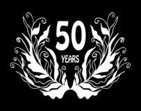 50 year anniversary celebration card - Vector. Black and white 50 year anniversary celebration card - Vector illustration royalty free illustration