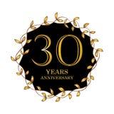 30 year anniversary celebration card. Black background royalty free illustration