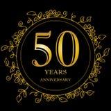 50 year anniversary celebration card. Black background stock illustration
