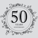 50 year anniversary celebration card. Transparent background royalty free illustration