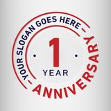 1 Year Anniversary Celebration Design Template. Anniversary vector and illustration. One year logo. 1 year anniversary celebration design template. One year royalty free illustration