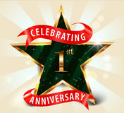 1 year anniversary celebration golden star ribbon Stock Photos