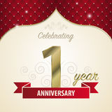 1 year anniversary celebration golden style. Vector Stock Photo