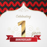 1 year anniversary celebration. Golden style. Vector Royalty Free Stock Photos