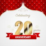 20 year anniversary celebration. Golden style. Vector. Illustration royalty free illustration