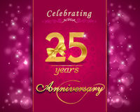 25 year anniversary celebration sparkling card, 25th anniversary Royalty Free Stock Image