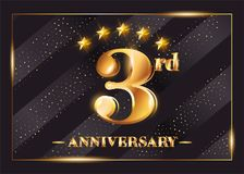 3 Year Anniversary Celebration Vector Logo. 3rd Anniversary. Royalty Free Stock Photography