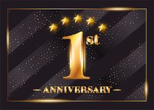 1 Year Anniversary Celebration Vector Logo. 1st Anniversary. Stock Photography