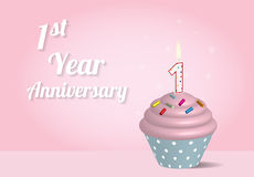 1 year anniversary cupcake. On pink background Stock Photos