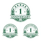1 year anniversary design template. Anniversary vector and illustration. 1st logo. 1 year anniversary design template. One year celebrating vector and stock illustration