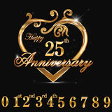25year anniversary golden heart, 25th anniversary decorative golden heart design Royalty Free Stock Photos