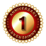 1 Year  anniversary golden label. Royalty Free Stock Images