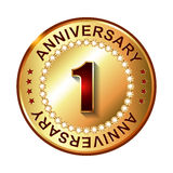 1 Year  anniversary golden label. Vector illustration Stock Photo