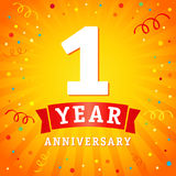 1 year anniversary logo celebration card Stock Photos