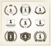 1 year anniversary logo set. Vector illustration Royalty Free Stock Photo
