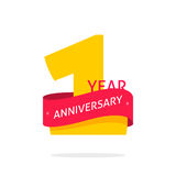 1 year anniversary logo, 1st anniversary icon label, one year birthday symbol. 1 year anniversary logo template golden number and red ribbon, 1st anniversary Royalty Free Stock Photos