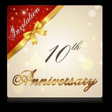 10 year anniversary with ribbon invitation card. Created Like symbol, Thumbs up polygon - vector EPS10 Royalty Free Stock Photos