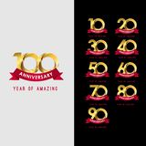100 Year Anniversary Set Year of Amazing Vector Template Design Illustration. Years logo celebration ribbon 20 card birthday number background 50 golden label royalty free illustration