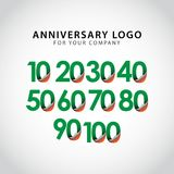 Year Anniversary Set Vector Template Design. Illustration royalty free illustration
