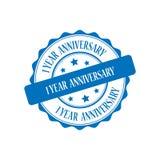 1 year anniversary stamp illustration. 1 year anniversary blue stamp seal illustration design stock illustration